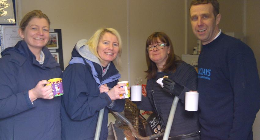The Barclays CSR Team managers have a well earned cuppa at the Fruit Routes EKG Orchard