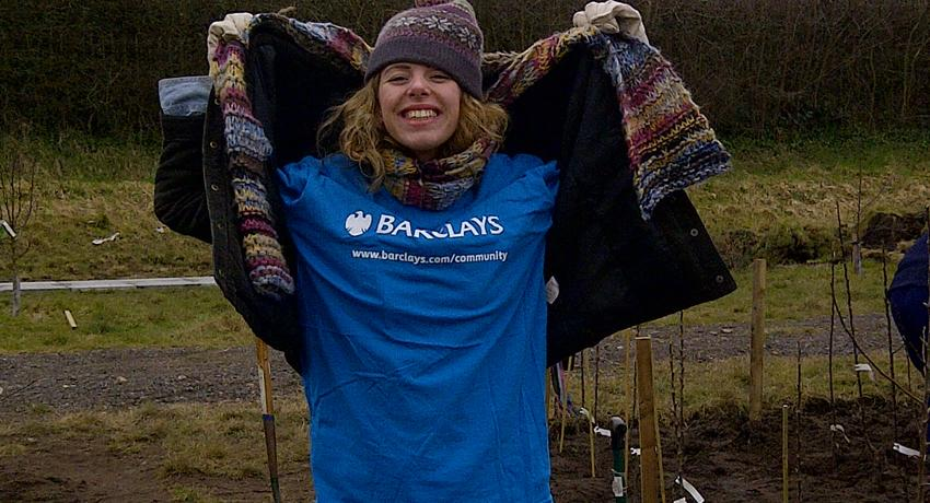 Emily from the Barclays CSR team at the Fruit Routes EKG orchard