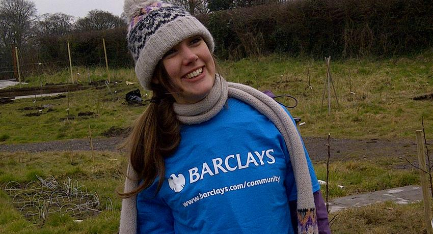 Claire from the Barclays CSR team at the Fruit Routes EKG orchard
