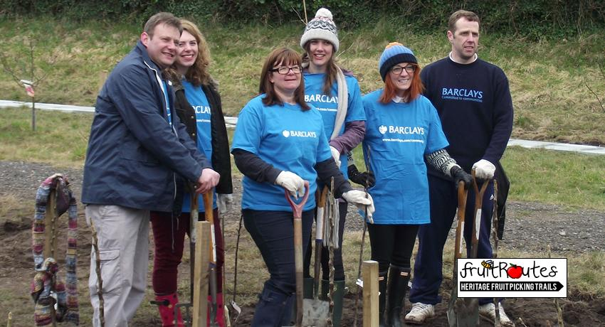 Members of the Barclays CSR team at the Fruit Routes EKG orchard